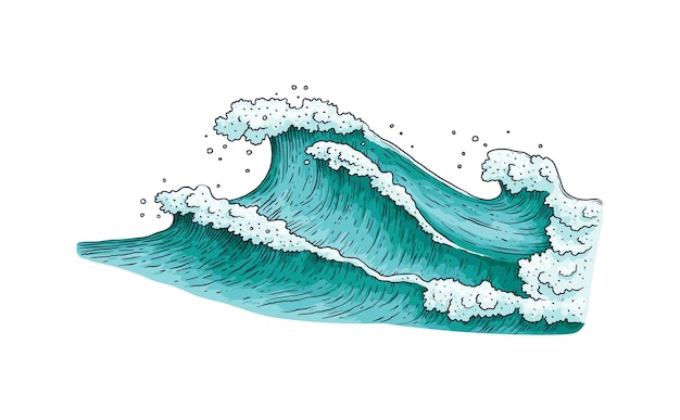 Burzowa fala wody morskiej rysunek na białym tle ¡