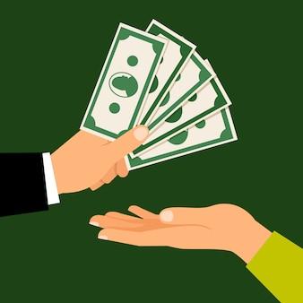 Busienss człowiek ręka przekazanie pieniędzy człowiekowi