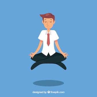 Busines człowiek medytuje