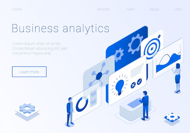 Business analytics team metaphor isometric banner