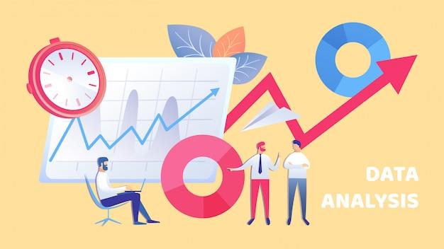 Business data analysis team flat illustration