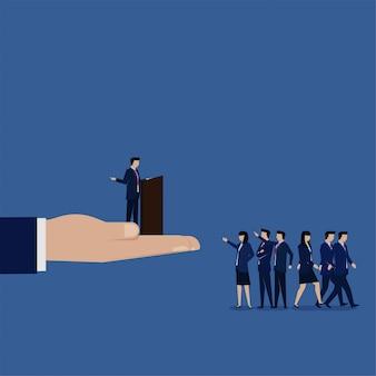 Business flat manager rozmawia z pracownikami i nikogo nie obchodzi metafora złego lidera.