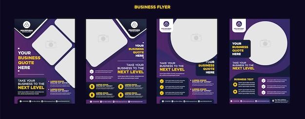 Business flyer ustawia projekt szablonu korporacyjnego w kolorze fioletowym dla firmy raportującej roczną