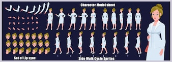 Business girl Arkusz modelki z animacjami cyklu spacerowego i synchronizacją warg