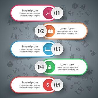 Business infographic. pięć przedmiotów.