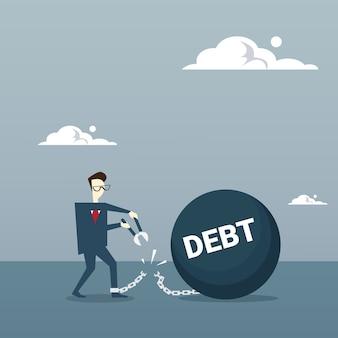 Business man cut chain bound płatny dług kredytowy