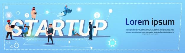Business people group startup nowa koncepcja pomysłów creative brainstorm współpraca banner