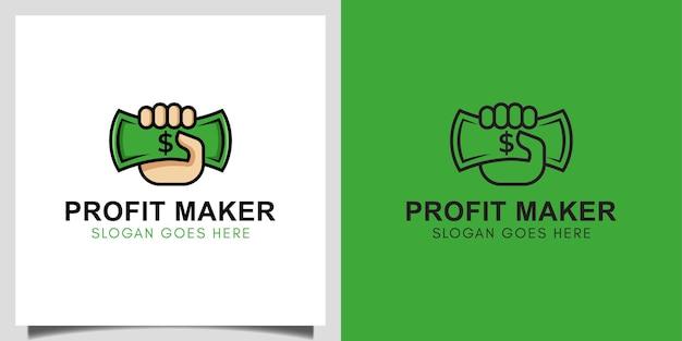 Business profit maker money dollar z ikoną dłoni wektor projekt dla logo finansów, inwestycji, zarabiania pieniędzy w internecie projektowanie logo