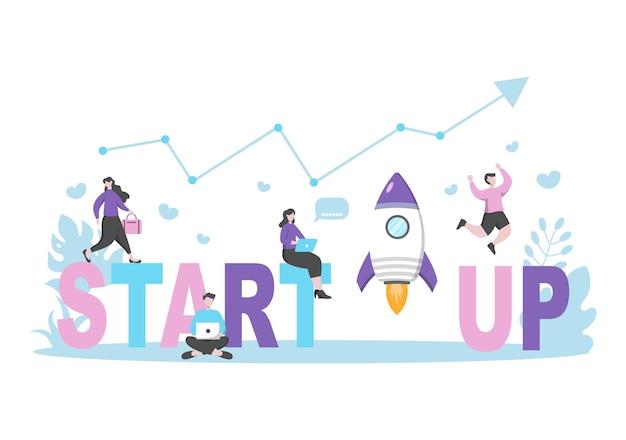 Business startup flat.