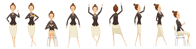 Business woman in various poses set