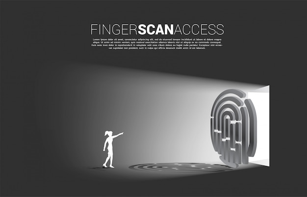 Businesswoman dotknij odcisk palca na ikonie skanowania palca, aby uzyskać dostęp do bramy