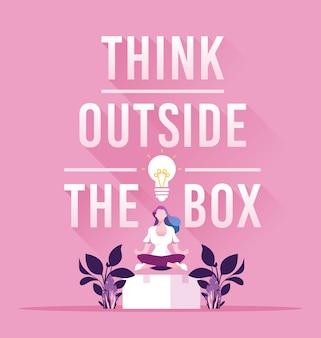 Businesswoman myśleć poza pojęciem pudełka