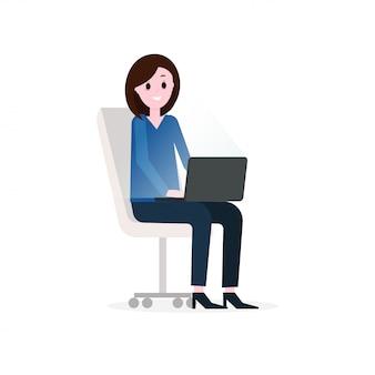 Businesswoman pracy, postać z kreskówki osoby.