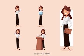 Businesswoman robi różne działania
