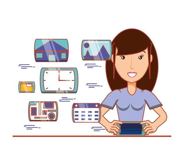 Businesswoman z ikonami mediów społecznościowych