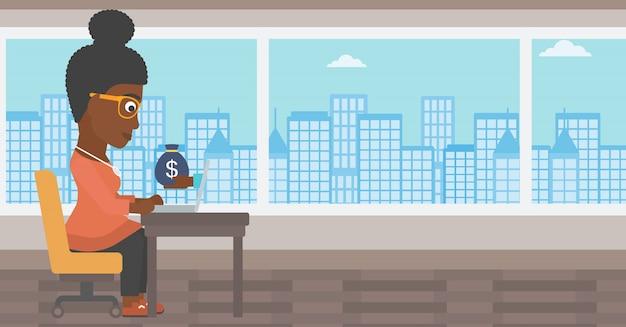 Businesswoman zarabiać pieniądze z biznesu online.