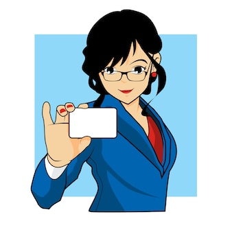 Bussines woman holding bussines card