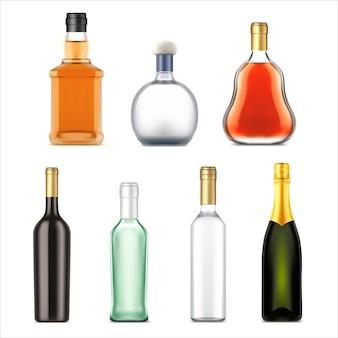 Butelek napojów alkoholowych, realistyczny wektor zestaw.