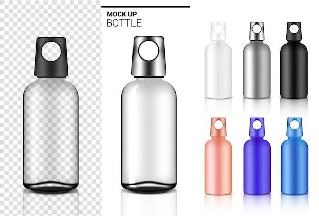 Butelka 3d realistyczne przezroczyste plastikowe lub szklane wytrząsarki w wektorze do wody i napojów. koncepcja rowerowa i sportowa.