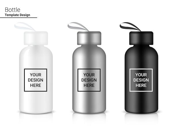 Butelka 3d realistyczny plastikowy shaker. koncepcja rowerowa i sportowa.