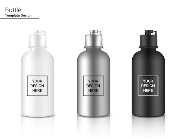 Butelka 3d szablon realistic plastic shaker.