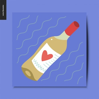 Butelka białego wina z sercem na etykiecie