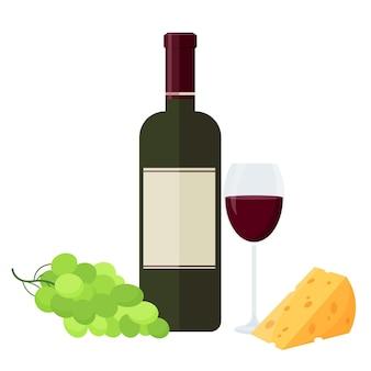 Butelka czerwonego wina, kieliszek, winogrona i ser. ilustracja wektorowa na białym tle.