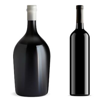 Butelka czerwonego wina na białym tle puste szkło wektor szampan lub makieta wina chardonnay. napój cabernet, merlot, bordeaux
