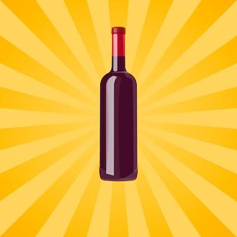 Butelka czerwonego wina na żółto z promieniami