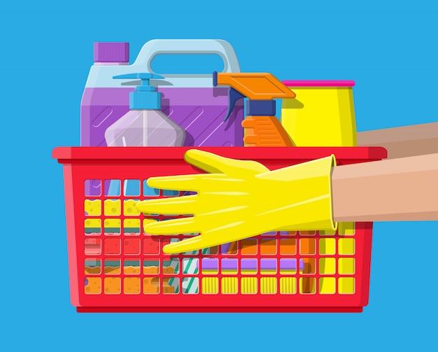 Butelka detergentowego mydła gąbkowego i gumowych rękawiczek