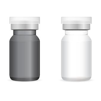 Butelka do wstrzyknięć szczepionki. szklana fiolka szczepionki na białym tle. przezroczysta ampułka lekarska do leczenia płynnego koronawirusa. laboratoryjne wstrzyknięcia leków do szczepień, szablon sprzętu do szczepień