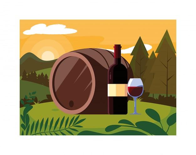 Butelka i kieliszek wina z beczką