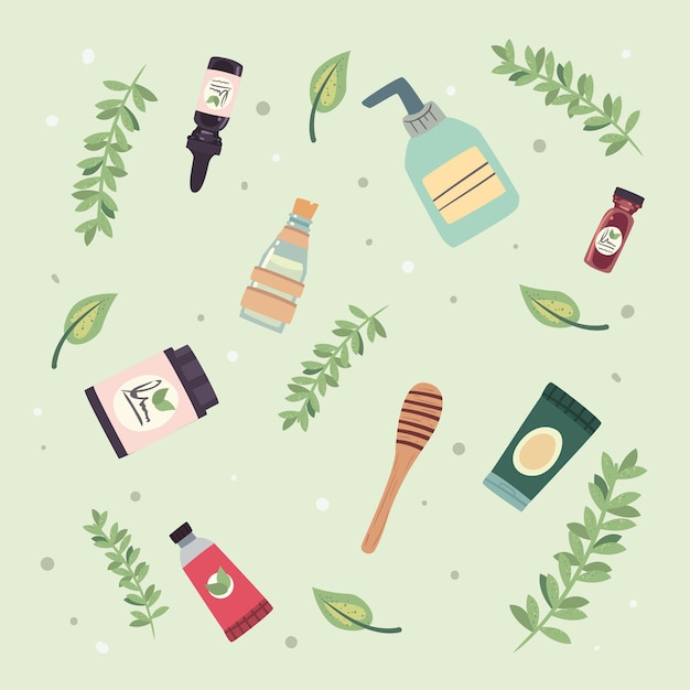 Butelka i tubki kosmetyków organicznych z naturalnymi składnikami