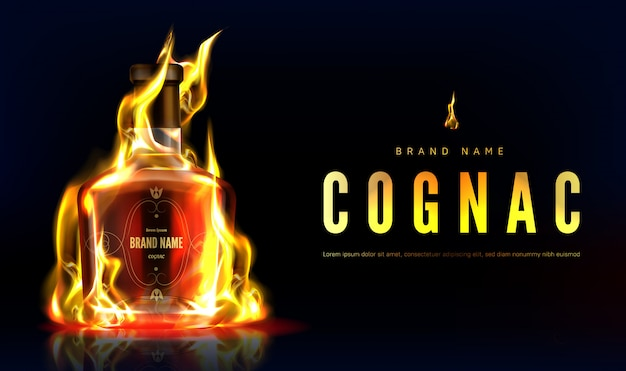 Butelka koniaku w banerze reklamowym ognia. zamknięta płonąca szklana pusta kolba z mocnym alkoholem na czarnym tle z płomieniem, reklama napojów. realistyczna ilustracja 3d