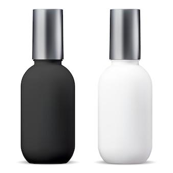 Butelka kosmetyczna. pakiet 3d leczenia surowicy. słoik