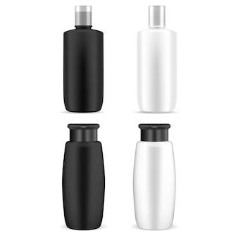 Butelka kosmetyczna. plastikowy pojemnik na szampon. pakiet kosmetyków