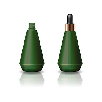 Butelka kosmetyczna pusta zielona szyszka z pokrywką z zakraplaczem.