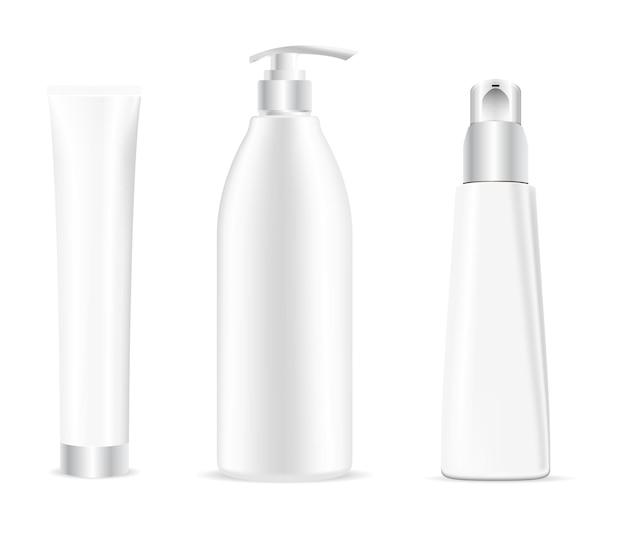 Butelka kosmetyczna. szablon pakietu biały szampon