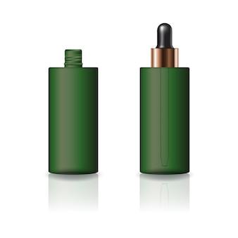 Butelka kosmetyczne puste zielony cylinder z pokrywką zakraplacz.