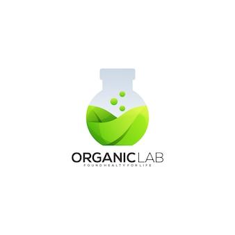 Butelka laboratoryjna z logo gradientu liści