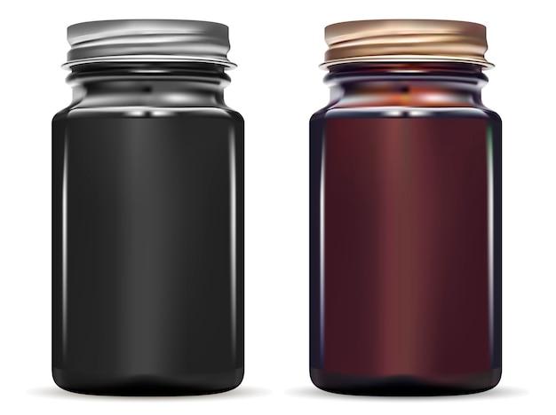 Butelka lekarstwa. błyszczący czarny makieta słoik
