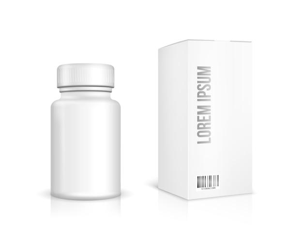 Butelka leku na białym tle. biała plastikowa butelka, opakowanie kartonowe.