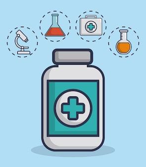 Butelka medycyny z ikonami urządzeń medycznych związanych