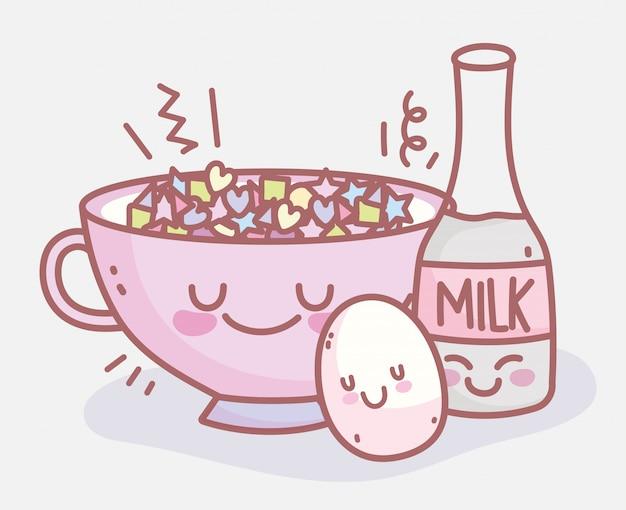 Butelka mleka gotowane jajko i płatki zbożowe menu restauracji jedzenie słodkie