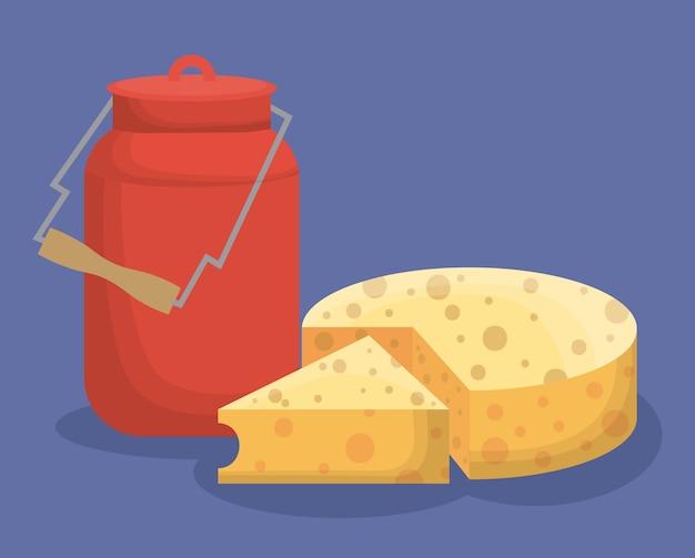 Butelka mleka i ikona szwajcarski ser