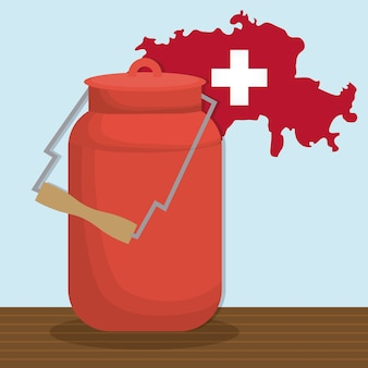 Butelka mleka i szwajcarska mapa kraju ikona