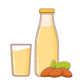 Butelka mleka migdałowego i orzechy.
