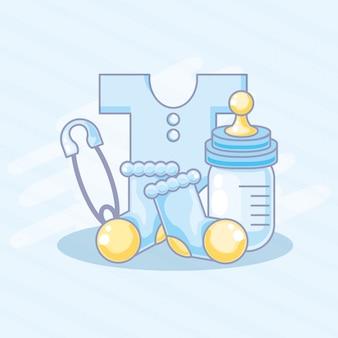 Butelka mleka z zestawem przedmiotów dla chłopca