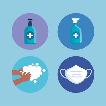 Butelka mydła odkażającego, zestaw ilustracji do mycia rąk i maski