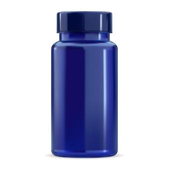 Butelka na pigułki. makieta słoik suplementu witaminy, niebieski plastikowy pakiet próbki 3d bez etykiety, wektor puste. produkt w pojemniku na tablety z nakrętką, lekarstwem farmaceutycznym, okrągła pionowa konstrukcja